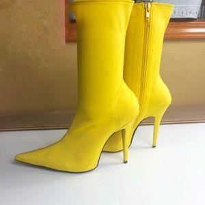 Jeffrey Campbell yellow scuba material sock bootie